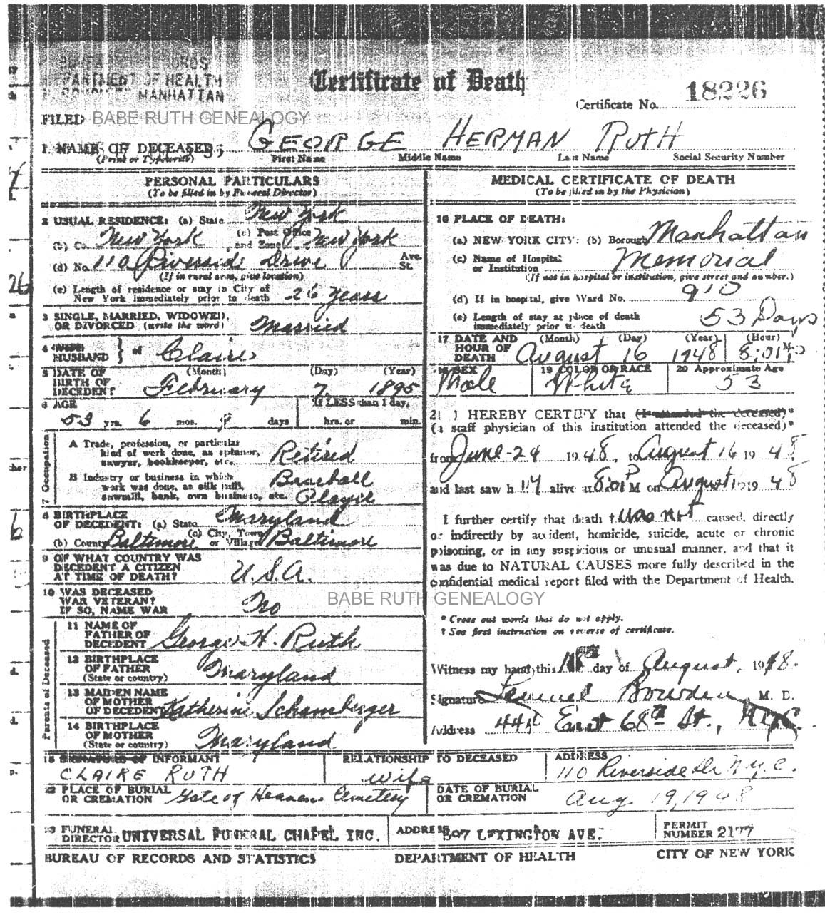 Babe ruth genealogy project records ww i and ww ii registrations 1betcityfo Images
